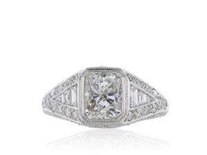 Platinum 1.59ct G/VS1 Radiant Cut Diamond Ring