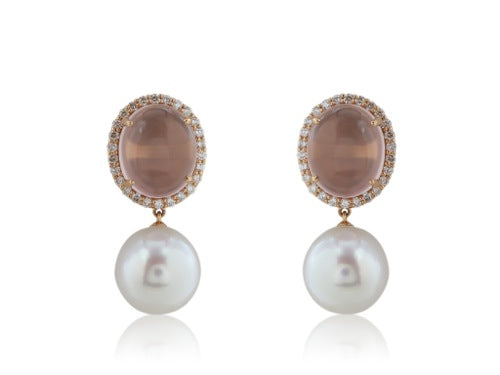 Rose Quartz and South Sea Pearl Earrings
