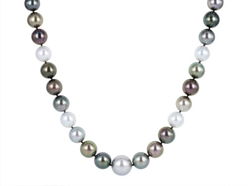 12-15.6 Tahitian Pearl South Sea Pearl & Diamond 21 Inch Necklace