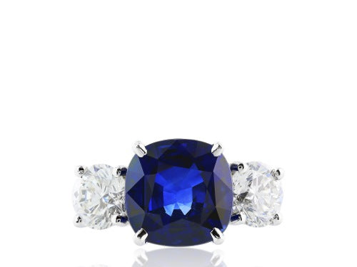 6.37ct Cushion Cut Sapphire and cush diamond 3 Stone Ring