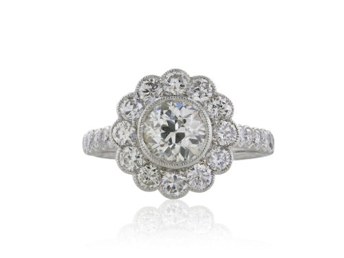 1.10ct Old European Cut Diamond Cluster Ring