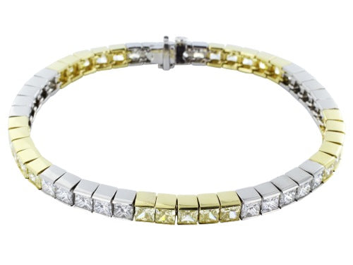 14.73ct Colorless & Canary Diamond Bracelet