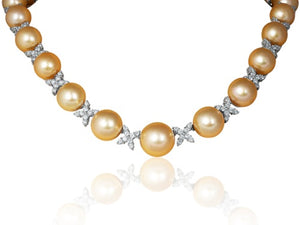 Golden South Sea Pearl & Diamond Necklace