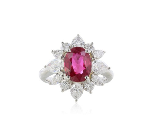 Gem Ruby 2.12 ct and Diamond Cluster Ring.