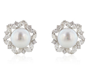 13mm Pearl and Diamond Earrings