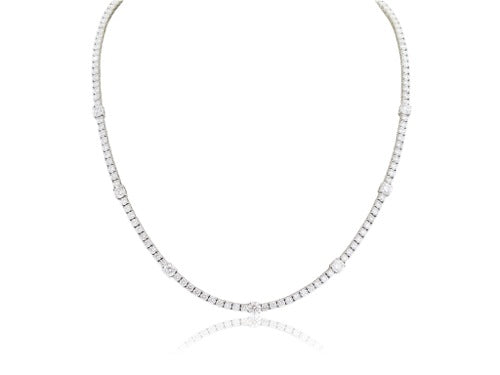 18 karat white gold Round Brilliant Cut diamond tennis style necklace, 10.55c carats total weight.