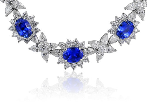 Oval Shaped Sapphire & Diamond Necklace