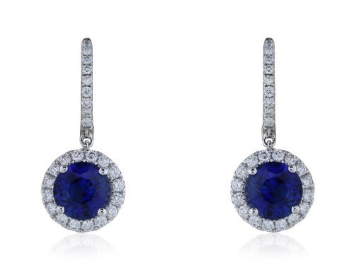 2.90ct Sapphire Diamond Drop Earrings