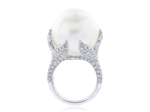 17MM South Sea Pearl Diamond Ring