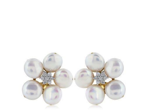 Pearl & Diamond Floral Motif Earrings