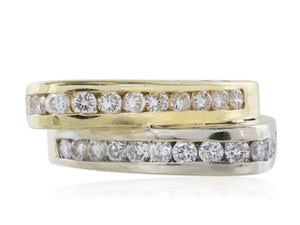 18 kt TT diamond by pass cluster ring