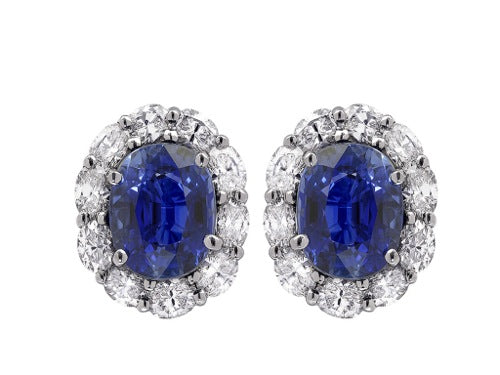 7.45 Sapphire Cluster & Diamond Earrings