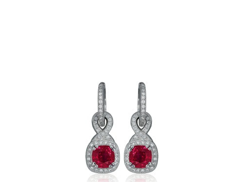 2.70ct Ruby & Diamond Drop Earrings