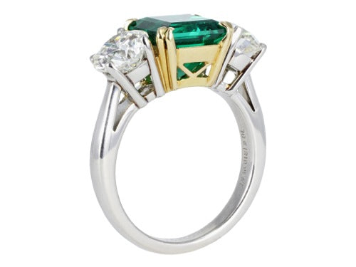 Gem Columbian 2.64ct Emerald & Diamond 3 Stone Ring