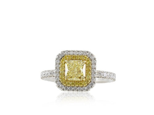 1.03 Fancy Yellow Radiant Diamond Ring