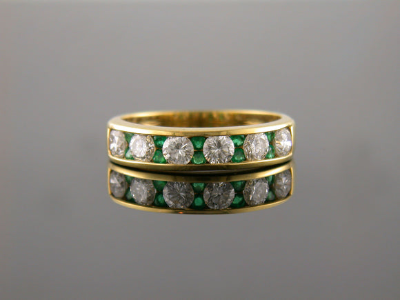1.51ct Diamond & Emerald Channel Set Band