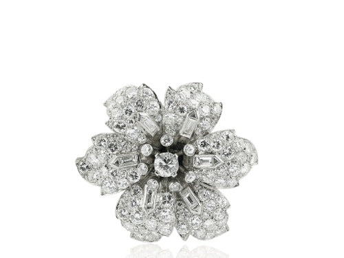 Plat 12ct Vintage Diamond Flower Pin