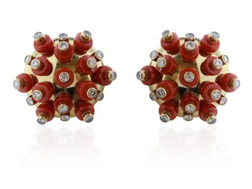 Signed Aletto Bros Coral and 1.80 Carat Diamond Earrings
