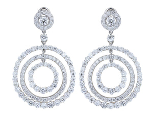 11.11ct Round Brilliant Cut Diamond Circular Drop Earrings