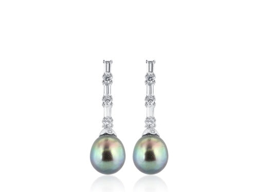 13mm South Sea Pearl & Diamond Earrings
