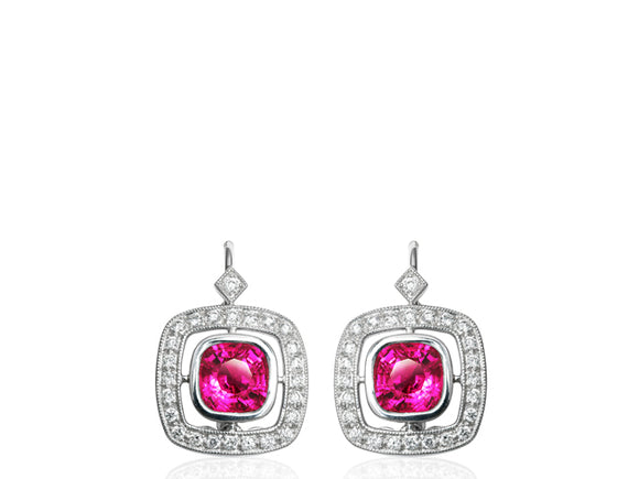 2.91ct Ruby & Diamond Drop Earrings