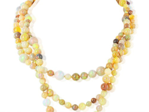 200ct Jelly Opal Diamond Clasp Necklace