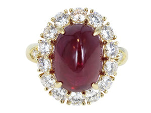 Estate Van Cleef & Arpels 9.42ct Cabochon Ruby & Diamond Cluster Ring