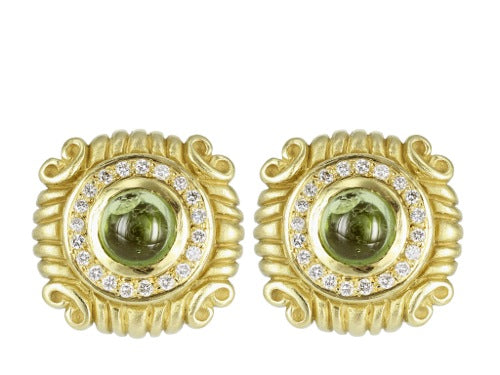 Peridot & Diamond Clip Earrings