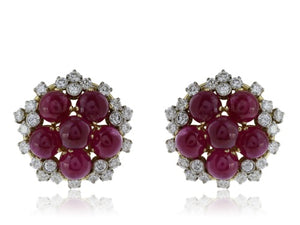 Cabochon Ruby and Diamond Clip Earrings