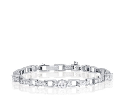 Plat 4.00ct Diamond Open Link Bracelet