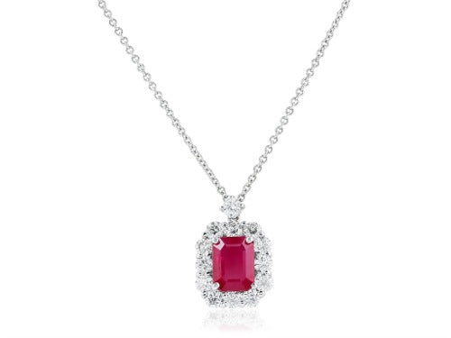 1.40ct Ruby & Diamond Cluster Pendant