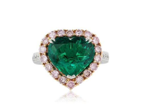 3.70 carat AGL Colombian Emerald and pink diamond Ring