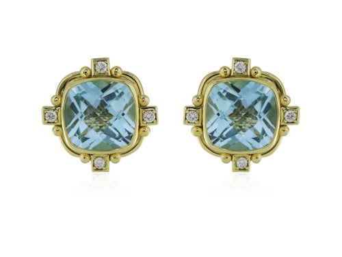 18kt YG Cushion Cut Blue Topaz Earrings