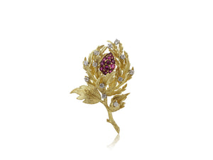 18 kt yg Ruby and diamond floral pin 13.75 dwt