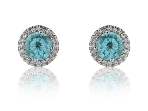 1.55ct Paraiba Diamond Cluster Earrings