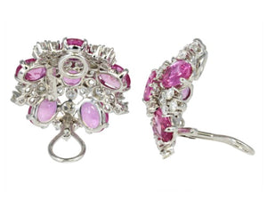 16ct Pink Sapphire & Diamond Aletto Brothers Clip Earrings