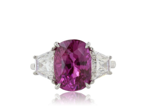 Platinum Oval Pink Sapphire 6.53 ct Ring