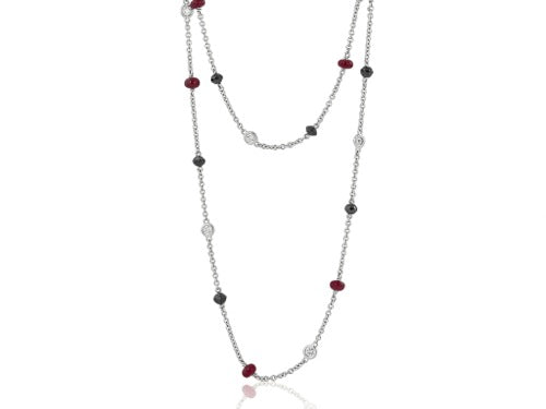 White Gold Chain Rubies & Diamonds