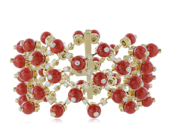 18 Karat Yellow Gold Coral and Diamond Mesh Bracelet