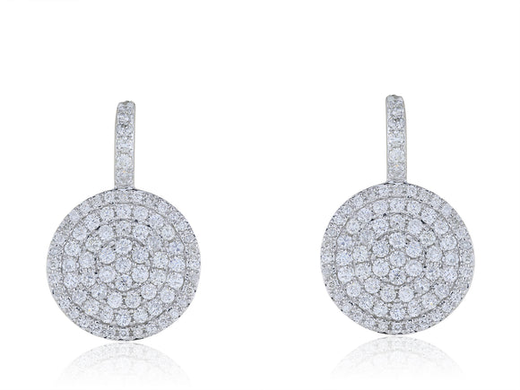 1.18ct Pave Diamond Circle Earrings