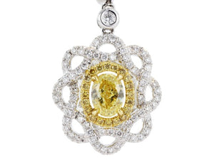 1.20ct Oval Shaped Canary Diamond Drop Earrings