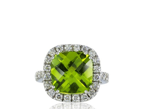 6.78 Carat Peridot and Diamond Ring