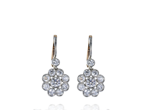 1.65 Carat Antique Inspired Diamond Floral Motif Earrings