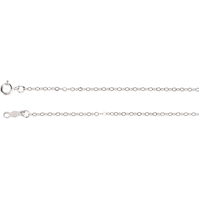 14 KT WHITE GOLD 16 INCH 5MM CABLE CHAIN