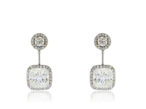 Plat cushion cut diamond 2@5.83 cts tw drop halo set earring