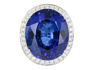 26.04ct Tanzanite & Diamond Ring
