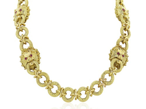 30 Inch Yellow Gold Lions Head Estate necklace