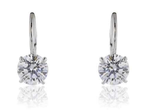 2.04Carat GIA Certified D-E/SI1-SI2 Diamond Drop Earrings