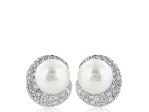 11-11.5 MM South Sea Pearl Diamond Earrings