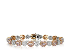 Pink and white diamond bracelet